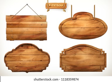Wooden board, old wood vector set