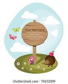 wooden board over cute nature scene. vector illustration