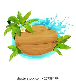 Wooden board with palm leaves on a background of sea spray. Vector illustration