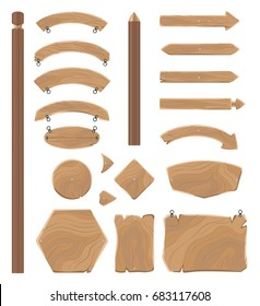 Wooden boards of geometrical and arrow shapes for signs with small chains to hang isolated vector illustrations set on white background.
