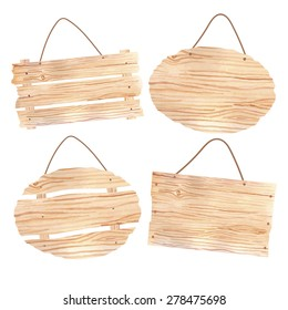 Wooden boards on the rope set