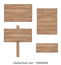 Wooden boards. Set of vector banners