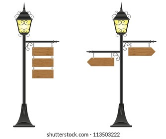 wooden boards signs hanging  on a streetlight vector illustration isolated on white background