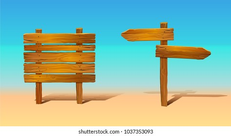 Wooden boards, signs. List and arrows. Vector rough tablets.