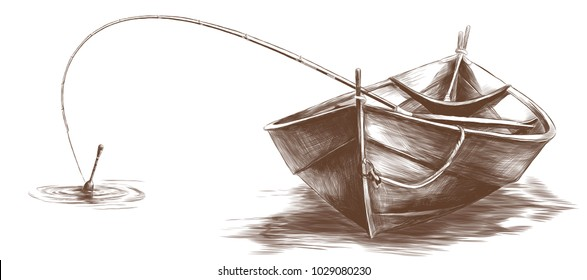 wooden boat with fishing rod inside floating on water, sketch vector graphic monochrome drawing