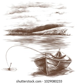 wooden boat with fishing rod inside floating on water on mountains background, sketch vector graphics monochrome pattern