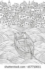 Wooden boat floating on the waves. Seaside, homes, boat, sea, art background.  Hand-drawn doodle vector. Zentangle style. Black and white pattern for adult coloring book.