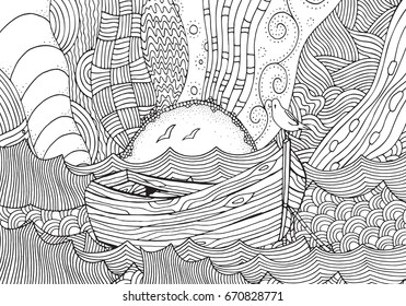 Wooden boat floating on the waves. Waves, boat, sea, art background.  Hand-drawn doodle vector. Zentangle style. Vector pattern for adult coloring book. Black and white.