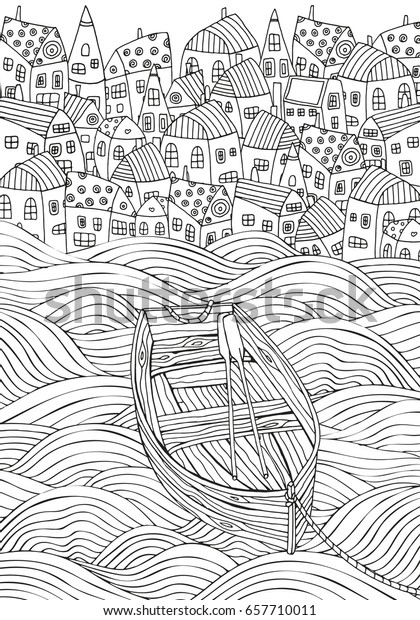 Wooden Boat Floating On Waves Seaside Stock Vector Royalty Free