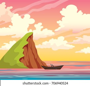 Wooden boat, green island, calm sea and sunset sky with cumulus clouds. Summer natural vector landscape.