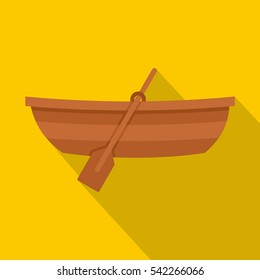 Wooden boat icon. Flat illustration of wooden boat vector icon for web isolated on yellow background