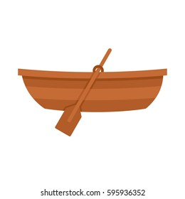 Wooden boat icon in flat style isolated on white background vector illustration