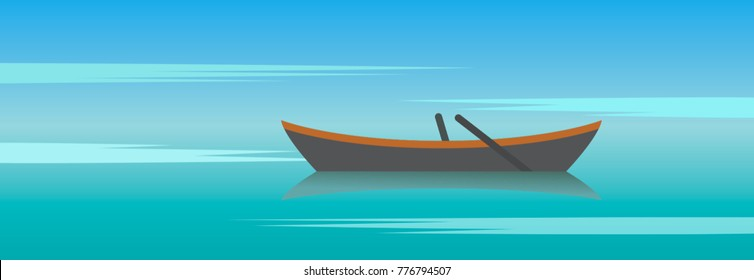 wooden boat with oars against the water. flat vector illustration isolated on white background