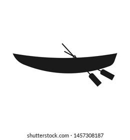 Wooden boat with oars. Black icon. Vector drawing. Isolated object on white background. Isolate.