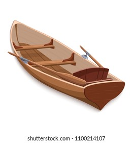 Wooden boat with oars, colorful graphic drawing, vector illustration. Skiff from brown wooden boards with two paddle and seats, isolated on white background