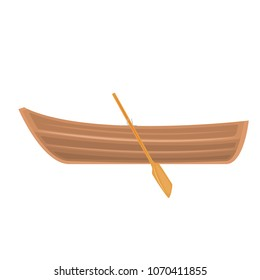 A wooden boat on a white background. vector illustration in flat design