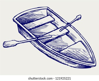 Wooden boat with paddles. Doodle style