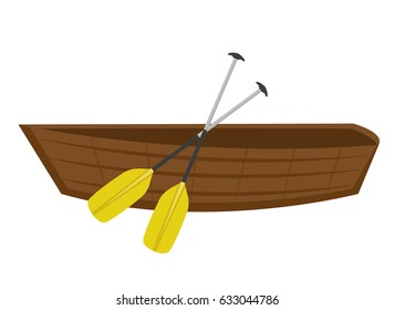 Wooden boat with paddles. icon flat, cartoon style. Isolated on white background. Vector illustration, clip-ar