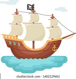 Wooden boat pirate buccaneer sailing filibuster bounty corsair journey sea dog ship game isolated icon cartoon flat design vector illustration