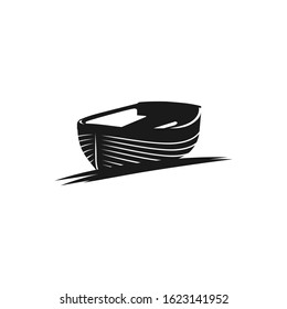 Wooden Boat. Row Boat logo design. Vector Illustration