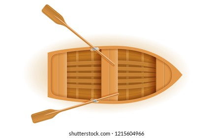 wooden boat top view vector illustration isolated on white background