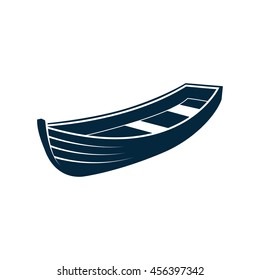 Wooden Boat. Vector Illustration on White Background.