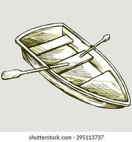 Wooden boat. Vector image
