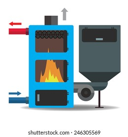 Wooden boiler. Vector illustration.