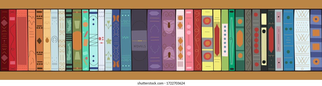 Wooden bookcase with books. Bookshelves with multicolored books. Vector illustration in flat style. Horizontal banner