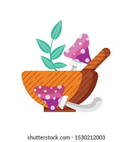 Wooden bowl and spoon with fly agaric mushrooms and herbs for magic potion or elixir. Witchcraft poison icon with ingredients from alchemist laboratory. Magical recipe components in cartoon style.