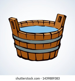 Wooden bowl. Vector drawing icon