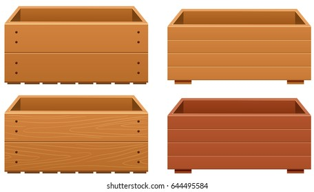 Wooden box designs with different texture of wood illustration