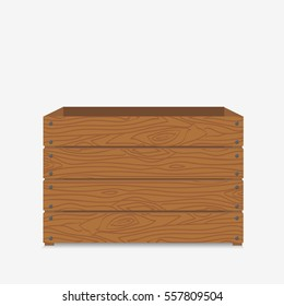 Wooden box. Empty box for fruit and vegetables. Isolated on white background. Flat vector stock illustration