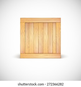 Wooden box isolated on a white background. Three-dimensional illustration, icon.