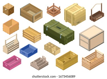 Wooden box isometric vector set icon. Isolated isometric set icon crate and container. Vector illustration wooden box on white background .