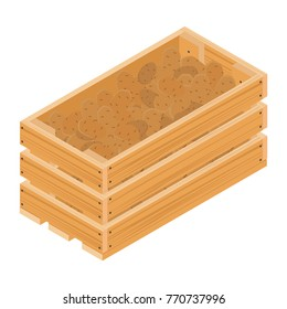 Wooden box with potatoes