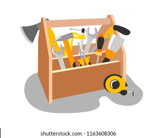 Wooden box with tools in the style of flat.