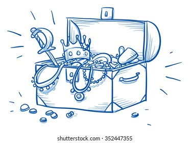 Wooden box and treasure chest, full of gold coins, necklaces and other jewelry,  hand drawn vector illustration.