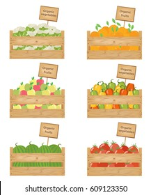 Wooden boxes of vegetables and fruits. Organic fruits and vegetables Vector illustration.
