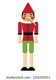 Wooden boy with long nose from lying. Eps10 vector illustration.