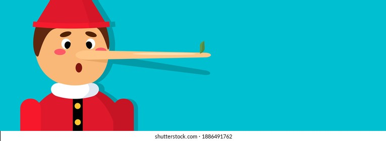 a wooden boy with a very long nose because of a lie with a leaf at the end. vector illustration with shadow