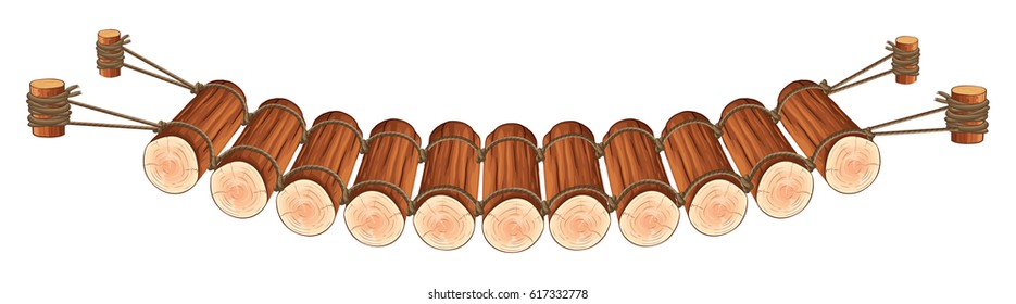 Wooden bridge attached to rope illustration