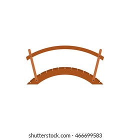 Wooden bridge with handrail icon in flat style on a white background