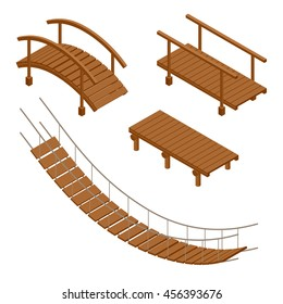 Wooden bridge vector illustrations. Flat 3d isometric set