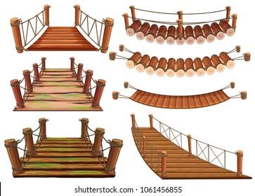 Wooden bridges in different designs illustration