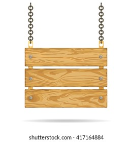 Wooden bright signboard with metal chain and three planks, vector illustration