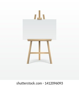 Wooden brown easel with empty blank canvas. All elements on white background. 3d Realistic vector illustration.