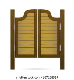 Wooden Brown Gate or Door in Saloon, Bar or Pub. Front Entrance Architecture Design Vector illustration