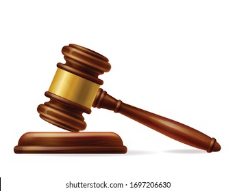 Wooden brown judge gavel, decision glossy mallet for court verdict. 3d realistic vector, isolated on white background. Auction hammer with gold on the stand. Law and justice system symbol.