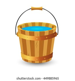 Wooden bucket with clean drinking water. Vector illustration.